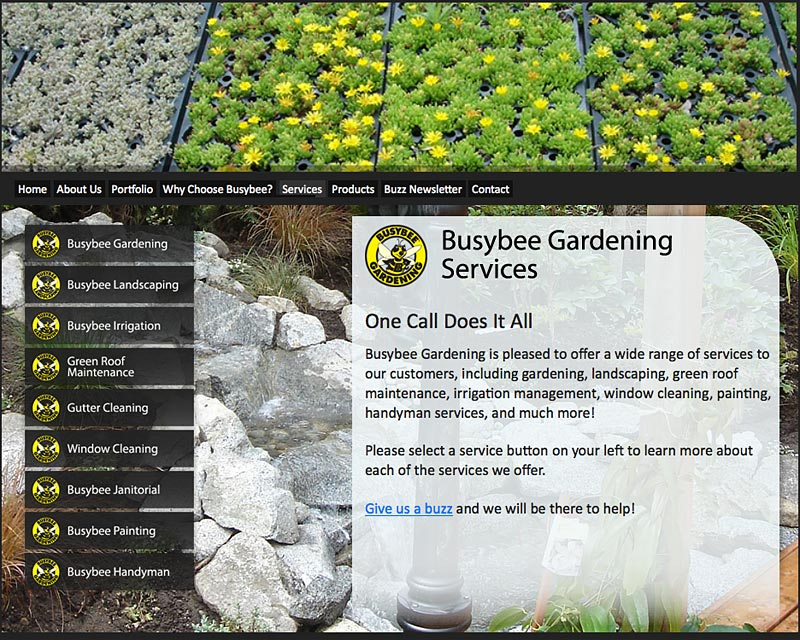 Torry Courte Porfolio – BBG Homepage Busybee Gardening Services image,  Torry Courte Portfolio - Busybee Gardening Website - (developed By Torry Courte).